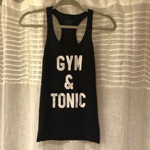 Center Stage Tops - Gym & Tonic Black Racerback Tank Top